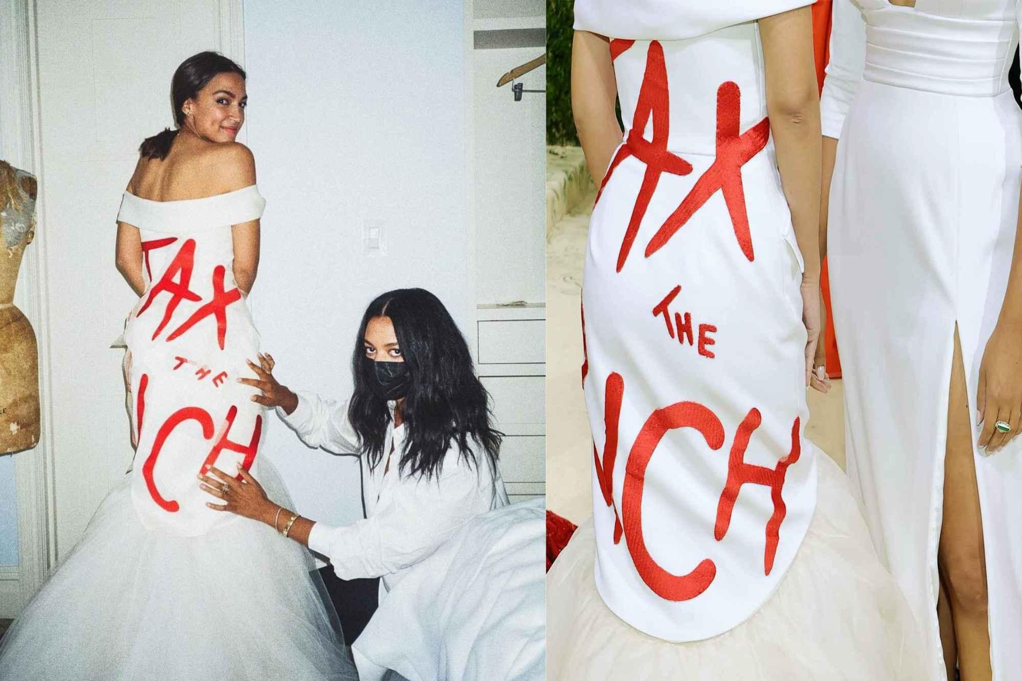 """AOC's Met Gala 2021 """"Tax the Rich"""" Dress"""